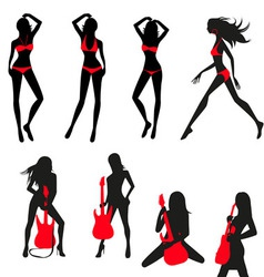 Silhouettes of girls set vector
