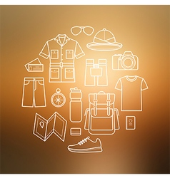 Icons set of safari planning on blurred background vector