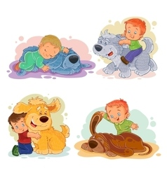 Clip art of little boys and their vector image