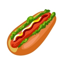 Hotdog American fast food bun with sausage vector image