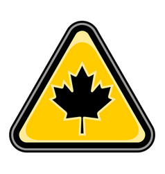 Canada maple leaf sign triangular sticker vector