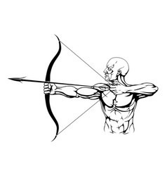 black and white archer vector image