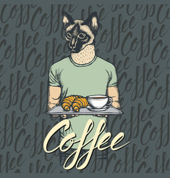 Cat with croissant and coffee vector