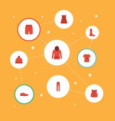 Flat icons waistcoat sweatshirt pants and other vector