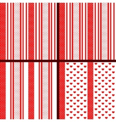 Red striped heart patterns vector