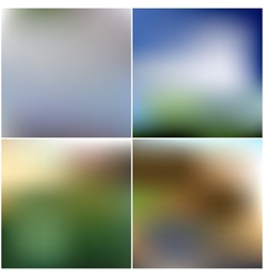 Set of nature blurred unfocused backgrounds vector