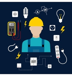 Professional electrician with electric tools and vector
