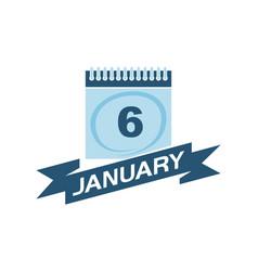 6 january calendar with ribbon vector