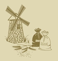 Ears of wheat sacks of flour and windmill vector