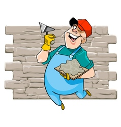 Cartoon cheerful male worker with tool vector