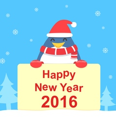 Penguin and new year card vector