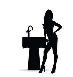Girl silhouette with sink vector