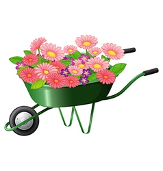 A construction cart with lots of flowers vector image vector image