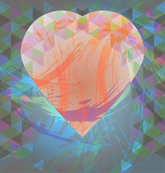 Abstract design with big heart and colored triangl vector image