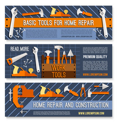 Banners for home or house repair work tools vector