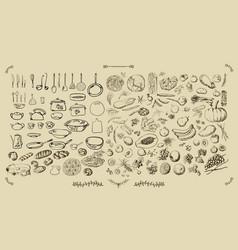 big set kitchen - food vector image