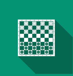 Board game of checkers icon with long shadow vector