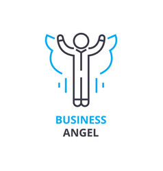Business angel concept outline icon linear sign vector