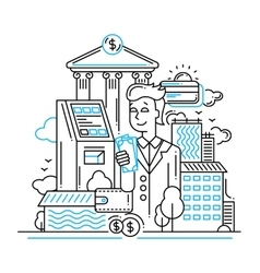 Businessman managing money - line design vector