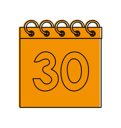 Calendar with number 30 icon image vector