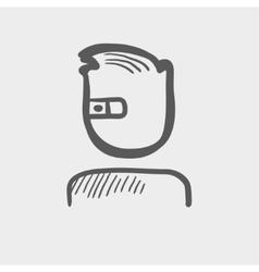 Computer web camera sketch icon vector