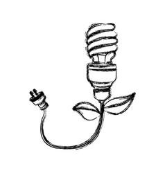 Contour bulb eco cable icon vector