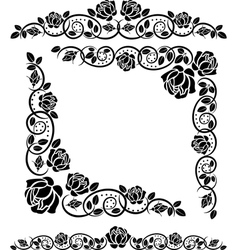 corners with roses decoration vector image