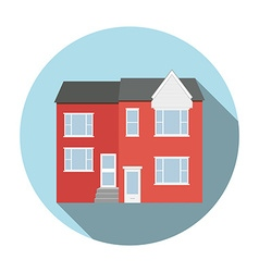 Duplex house flat icon with long shadow circle vector