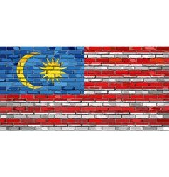 Flag of malaysia on a brick wall vector