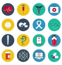 Flat icons set of medical tools and health care vector