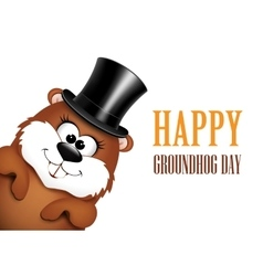 Funny marmot in hat on a white background vector