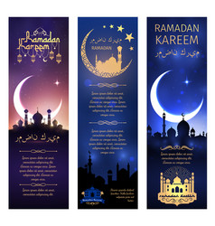 Greeting banners set for ramadan kareem vector
