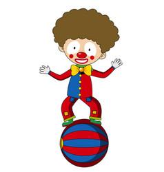 Happy clown balancing on big ball vector