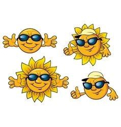 Happy sun characters in sunglasses vector image vector image