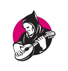 Hooded man playing banjo vector