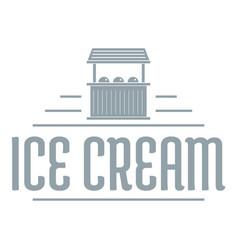 Ice cream stall logo simple gray style vector