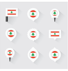 Lebanon flag and pins for infographic and map vector