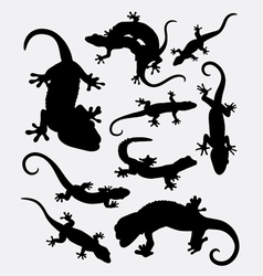 Lizard gecko reptile animal silhouette vector