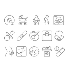 Medicine pregnancy motherhood line icons vector image vector image