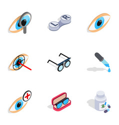 Optometry icons isometric 3d style vector