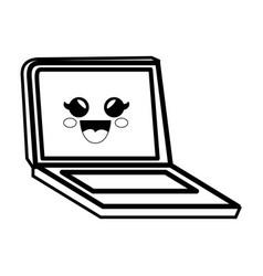 pc laptop cartoon smiley vector image vector image