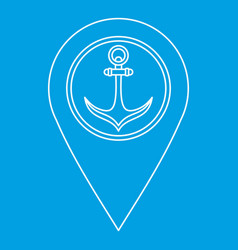 Pin with an anchor icon outline style vector