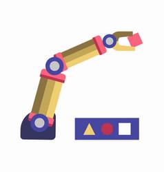 Robotic arm solving puzzle vector