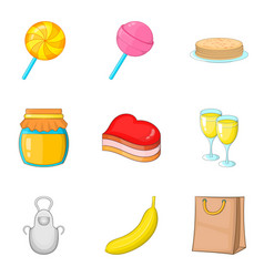 romantic breakfast icons set cartoon style vector image vector image