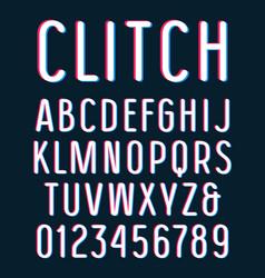Sanserif font with glitch 3d effect vector