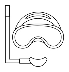 Scuba mask and snorkel icon outline style vector image vector image