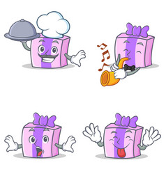 Set of gift character with chef trumpet surprised vector