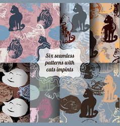 Set of seamless patterns with cat stamps vector