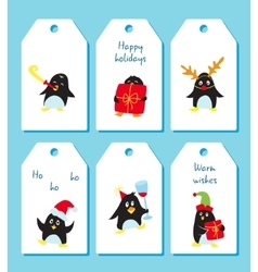 Set of winter holiday tags with cute penguins vector image