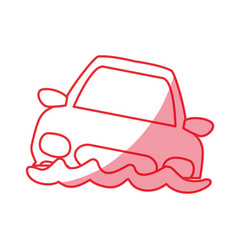 Silhouette flooded car for danger weather vector